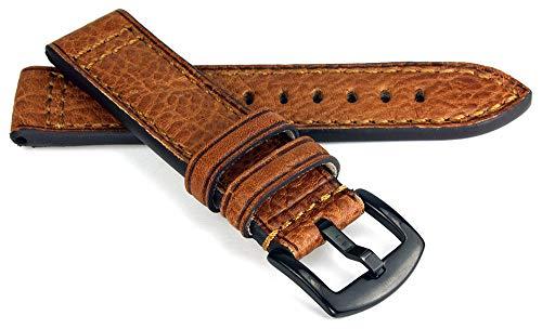 RIOS1931 Jersey Rindsleder Uhrenarmband handgemacht in Deutschland Robust 22mm Cognac