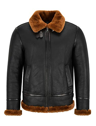 Smart Range Leather Giacca da Uomo in Pelle di Montone B3 Nera Pelliccia di Zenzero Scura Giacca da Bomber Pilota in Vero Shearling NV-65 (L)