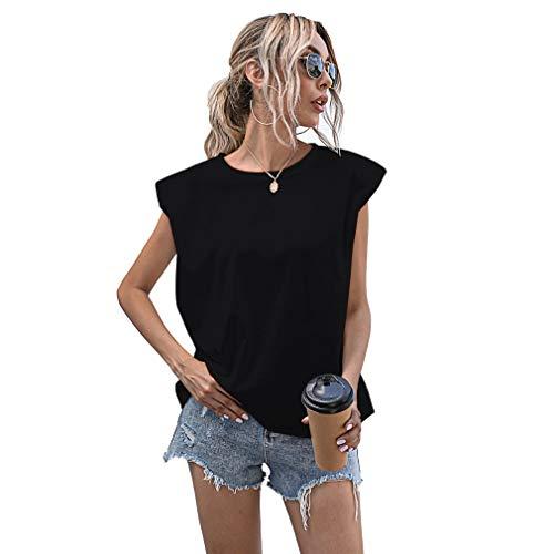 Fltaheroo Casual Suelto Tank Tops Verano Sin Mangas Top De Las Mujeres Camiseta Básica De Punto Top XL Tamaño Negro