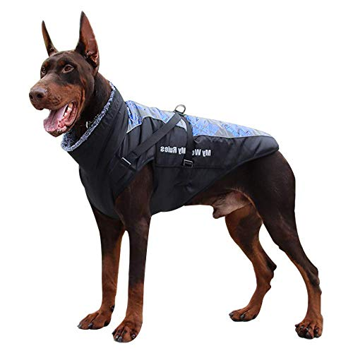 Dog Jacket - Winter Coat for Dogs Extra Warm Plush Collar Waterproof Windproof Pet Jacket for Hiking Camping with Zipper Reflective Dog Vest for Medium Large Dogs Build-in Harness (5XL, Silver Blue)