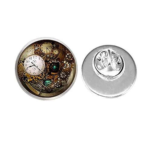 Accesorios de joyería Steampunk Reloj Pin Broche de cristal Cabujón Photo Broche Regalos Hombres, BFF Broch, Pin de reloj, Mejor Amigo Joyería, PU119
