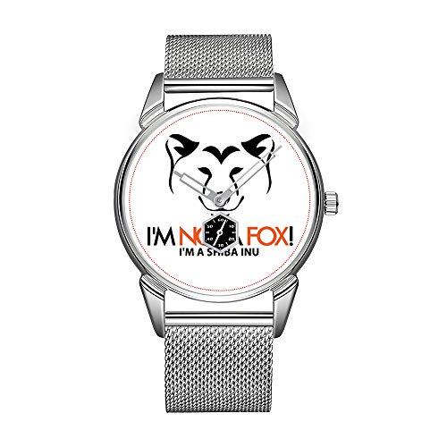 Orologio da uomo alla moda, argento e acciaio inossidabile, impermeabile, di alta qualità, orologio da uomo, orologio Shiba Inu