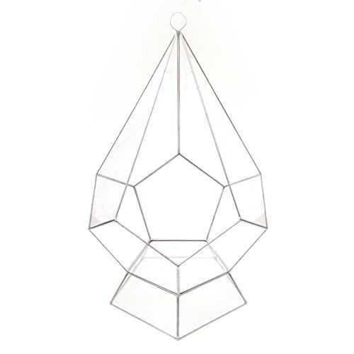 Goutte d'Eau Mega taille avec support – Terrarium en verre géométrique moderne/fleurs/intérieur Indoor/Fait à la main, Verre, Silver Patina, 30x30x45