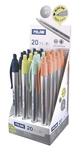 MILAN 1765779120 - Pack de 20 bolígrafos, color azul