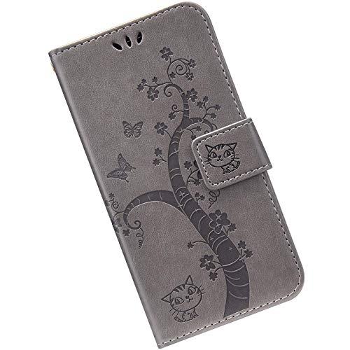 Kompatibel mit Huawei Y6 2019 Hülle Leder Handytasche, Hülle mit Handykette Handyhülle Schmetterlings Prägemuster Muster Schutzhülle Brieftasche mit Magnet Kartenfächer Klapphülle,Grau