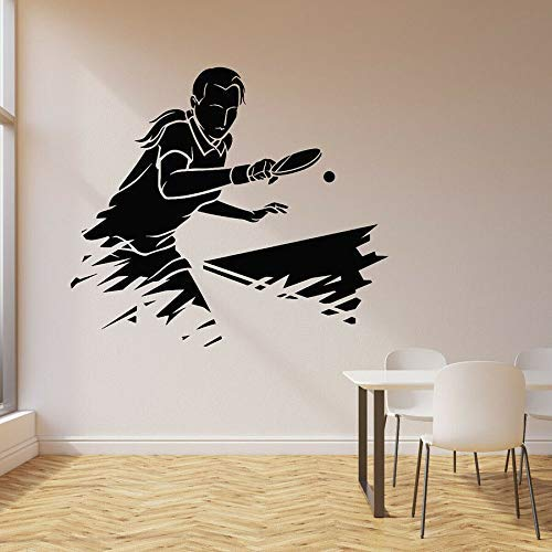 Play Ping Pong Wall Decal Sports Table Tennis Player Game Vinyl Window Sticker Stadium Teen Bedroom Home Decoration Art Mural Fest Gift Outdoor 42X47Cm