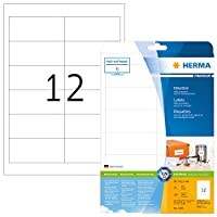 HERMA SuperPrint Labels Multipurpose 12 per Sheet 96.5x42.3mm White Ref 5056 [300 Labels]