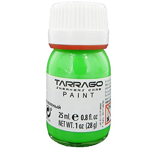Tarrago   Sneakers Paint 25 ml con Pincel y Esponja   Colores Flúor   Pintura para Sneakers y Zapatillas de Cuero, Cuero Sintético y Lona (Verde Flúor 478)