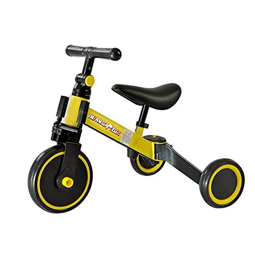 iNFANCiA FELiZ Triciclo Transformable, triciclo evolutivo 3 en 1 Bici polivalente, Triciclo y Bicicleta Entrenadora sin pedales y Carro de Equilibrio Ideal para niños y niñas de 1 año 4 meses a 4 años Practico, ligero y portátil (Amarillo)