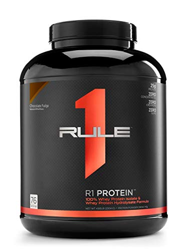 R1 Protein Whey Isolate/Hydrolysate, Rule 1 Proteins (76 Servings, Chocolate Fudge)