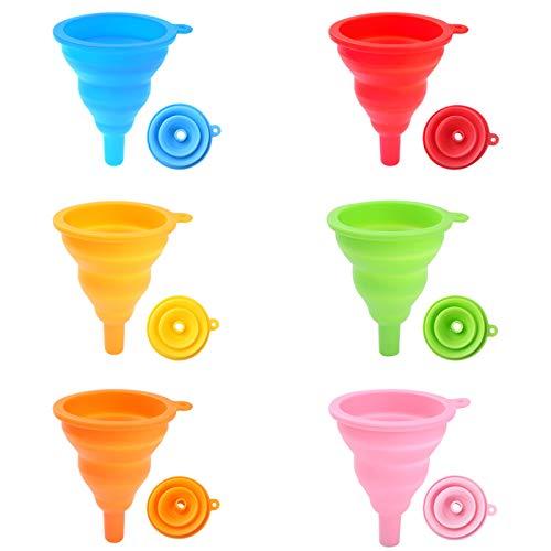 duoledaeu Embudo Plegable de Silicona, 6pz Embudo Resistente al Calor Mini para Cocina, 9.3x4cm/3.6x1.6in, Blue, Orange, Yellow, Red, Pink, Green