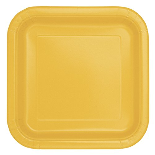 Unique Party- Paquete de 14 platos cuadrados de papel, Color amarillo, 23 cm (31849)