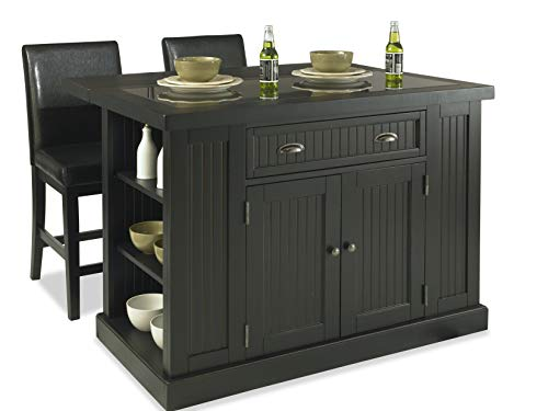Home Styles Nantucket Black Kitchen Island with Stools, Black Granite Top, Single Drawer, Two Wood Panel Doors, Adjustable Shelves, Side Open Storage, and Drop-leaf