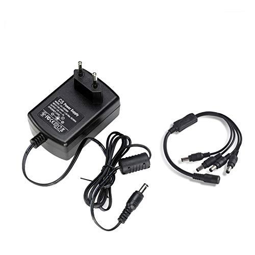 Adaptador de Corriente para cámaras de Seguridad Tonton DC 12V 2A con Divisor de Potencia de 1 a 4 para el Sistema de cámaras de Seguridad