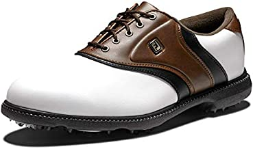 FootJoy mens Fj Originals Golf Shoes, White/Brown, 9.5 US