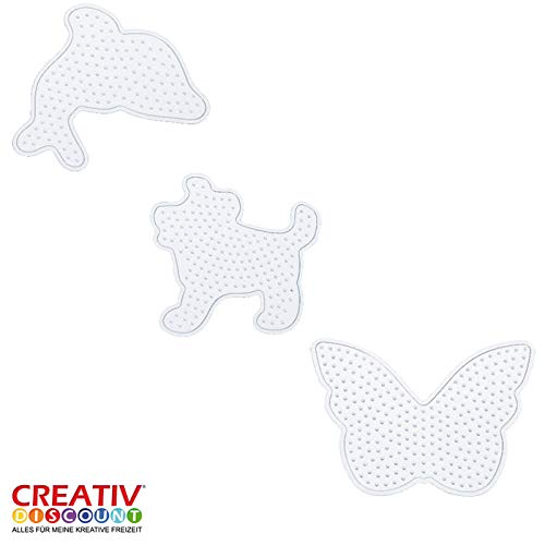 folia 73212 Stiftplatten Set Tierwelt, 3 transparente Steckplatten für Bügelperlen mit einem Durchmesser von 5 mm, Delfin, Hund und Schmetterling