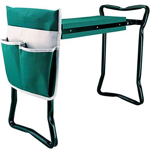 Garden Kneeler and Seat with Tool Bag Pouch,Portable Lightweight Garden Bench Thicken EVA Foam Pad Sturdy Steel Pipe Practical Garden Tools(Green)