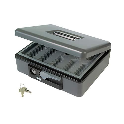 Amig - Caja de caudales Modelo 2500 | Acero | Con bandeja portamonedas | Gris | 230 x 185 x 80 mm