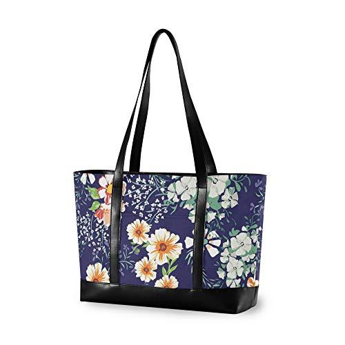 VALLER Women's Canvas Bag Laptop Shoulder Bag Little Cute Flower Print New Printed Design Laptop Bag Multicolor 14.65.111.8in