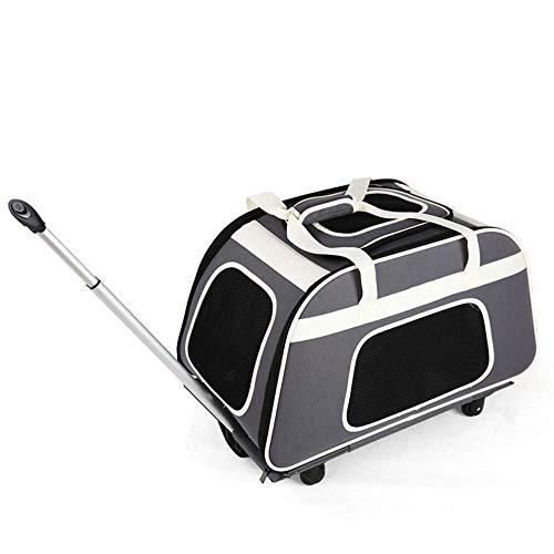 Sebasty Carrito de Viaje for Mascotas, Bolso for Mascotas con manija telescópica Carrito de Transporte for Mascotas Portador de Viaje portátil con Ruedas (Gris)