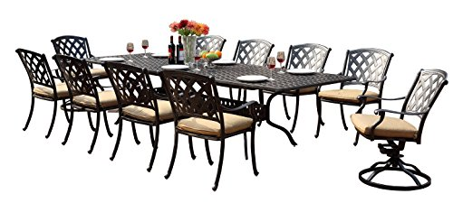 Darlee 201630-11PC-30LE Ocean View Cast Aluminum 11 Piece Rectangle Extension Dining Set and Seat Cushions, 42' by 92'/42' by 120'
