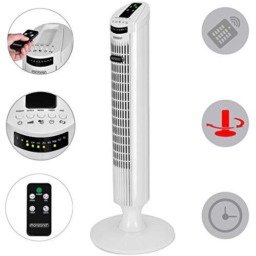 Monzana Turmventilator I 90° Oszillationswinkel I mit Fernbedienung I 3 Geschwindigkeitsstufen I 84cm I Timerfunktion I Turbo-Funktion I weiß - Säulenventilator Standventilator Luftkühler Ventilator