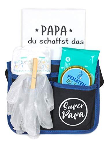 Trend Mama Geschenke für werdende Väter-Super Papa Toolgürtel Windelwechsler Geschenkset mit coolem Inhalt und Baby Lätzchen handbedruckt mit Spruch -Papa du schaffst das-