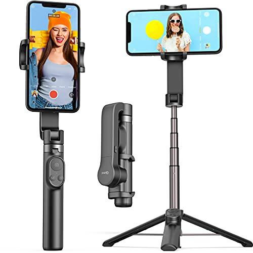 スマホジンバルQIMIC 920mAhー 片手持ち単軸スタビライザー 5段階伸縮スマホ三脚多機能リモコン付き自動回転安定撮影手ブレ防止折畳み式210g超軽量自撮り棒iPhone& Android対応 撮影録画/ライブ
