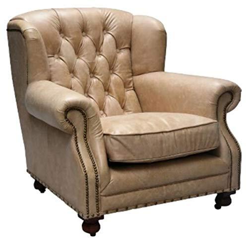 Casa Padrino Echtleder Sessel Beige 92 x 97 x H. 89 cm - Chesterfield Wohnzimmermöbel