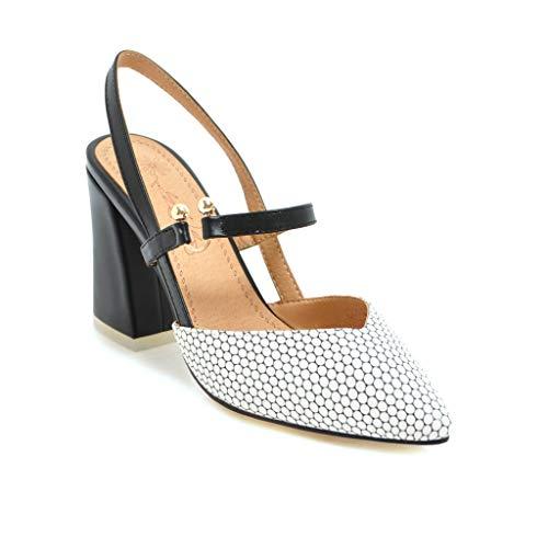 Zapatos de tacón alto con punta plana para mujer, de 8,5 cm, cómodos y fáciles de caminar, informales, para mujer, talla grande, ZB36S, color Blanco, talla 39 EU