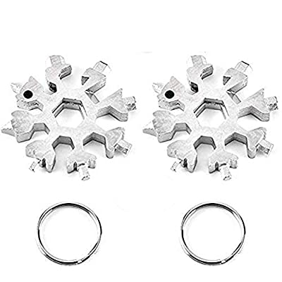 18-in-1 Stainless Steel Snowflake Multi-Tool,Portable Keychain screwdriver Bottle opener Tool for Military Enthusiasts,Outdoor EDC Tools,Christmas Gift (Silver 2)
