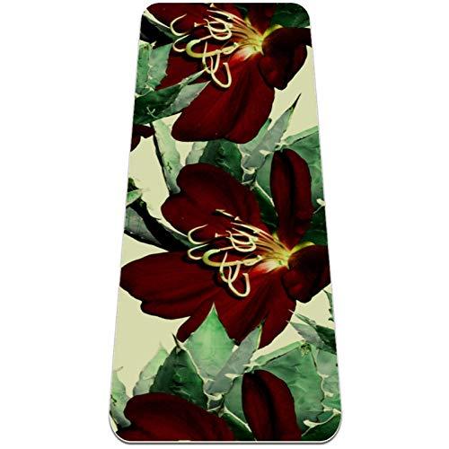 Esterilla de yoga de TPE antideslizante, para ejercicios y pilates, con correa de transporte, 1/4 de pulgada de grosor (182,88 x 60,96 cm) de alta densidad, antidesgarros, diseño floral rojo