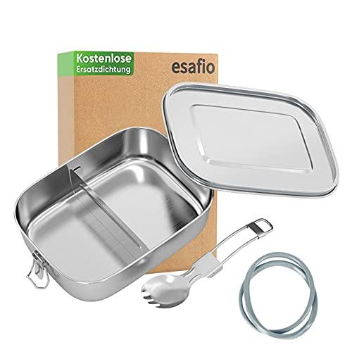 esafio 1400 ml Fiambrera extragrande de acero inoxidable,Sin plastico,ecológica,Apto para lavavajillas,con 2 piezas de sellado de silicona, cuchara tenedor