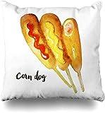 ZLXIONG Fundas de almohada cuadradas de harina de acuarela de Corndog Maíz de maíz, comida de perro, bebida frita amarilla, mostaza, condado, masa de decoración del hogar, 45 x 45 cm