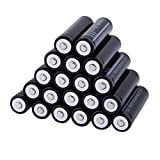 bosbary 20 PCS 18650 Li-ion Rechargeable Battery 3.7V 6000mAh 18650 Li-Ion Battery Large Capacity Cylindrical Button/niple top for LED Flashlight Torch Camera Electronic Devices Power Bank