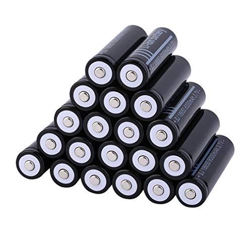 18650 Batería recargable de iones de litio, 3,7 V, 6000 Mah, de gran capacidad, prácticas baterías de litio para linterna LED, dispositivos electrónicos, etc. 20 piezas/juego (negro)