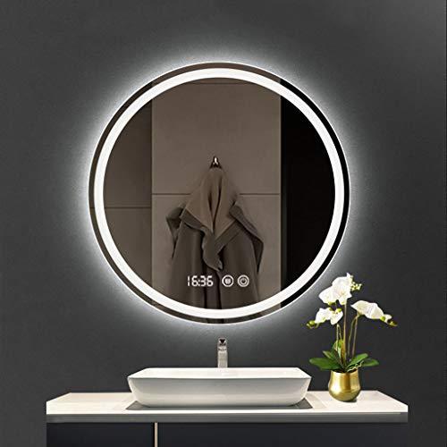 L&ED Espejos de tocador de Pared Espejo Redondo para baño retroiluminado con iluminación LED, antivaho, IP44, Grande