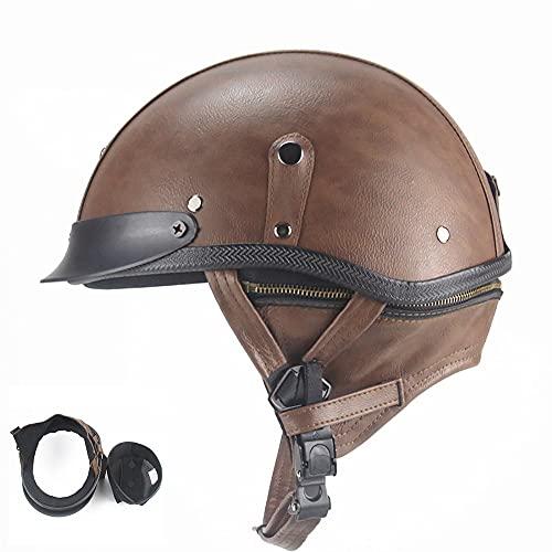 LUNANA Retro Motorrad Leder Halbhelme, Erwachsene Halbschale Jet-Helm mit ECE zertifizierter für Cruiser Chopper Biker Roller Helm (57~62cm)