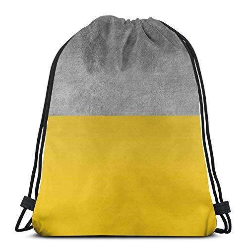 N / A Unisex Drawstring Bags,Concrete And Mustard Color Block Waterproof Foldable Sport Sackpack Gym Bag Sack Drawstring Backpack