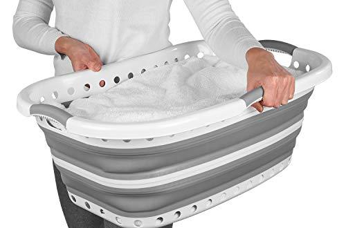 Cesta plegable para la ropa adaptable a la cadera LA072979GRYEU de Beldray®   Ideal para transportar una gran carga de lavado por la casa o hasta la lavandería  Plástico   37 L   Gris