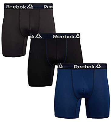 Reebok Mens Performance Quick Dry Moisture Wicking Boxer Briefs (3 Pack), Black/Navy/Cold Grey, Size X-Large' by