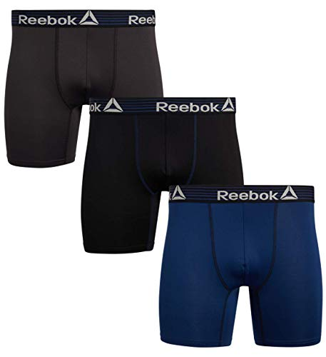 Reebok Mens Performance Quick Dry Moisture Wicking Boxer Briefs (3 Pack), Black/Navy/Cold Grey, Size Large'