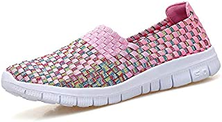 ZJSWIN Spring and Summer Women's Shoes Woven Sports Casual Shoes Elastic Belt Fashion Trend Handmade Women's Shoes (Color : Pink, Size : 37EU)