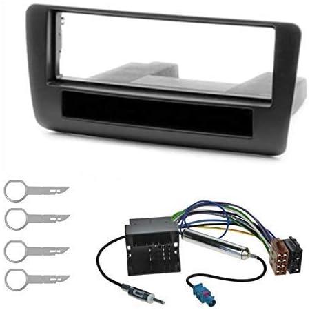 Sound Way 2 Din Autoradio Radioblende Radiorahmen Iso Verbindungskabel Antennenadapter Schlüssel Kompatibel Mit Audi A1 Auto