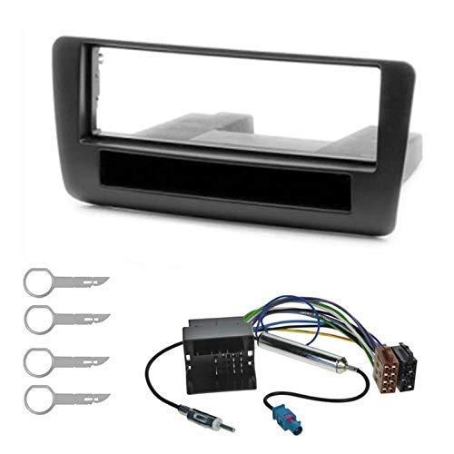 sound-way Kit Montage Autoradio, Cadre Façade 1 DIN, Cable Adaptateur Connecteur ISO, Adaptateur Antenne, Clés Demontage Compatible avec Audi A1