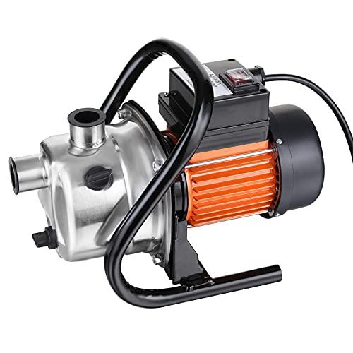 AgiiMan 1.6HP WaterPumpElectric - 850GPH Stainless Steel WaterTransferPump, 66PSI Shallow Well Lawn Sprinkler Booster Irrigation Garden Pump