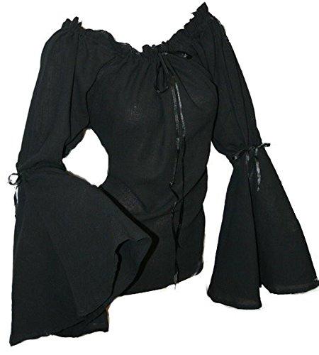 Dark Dreams Gothic Mittelalter LARP Bluse Ylenia, Farbe:schwarz, Größe:Freesize