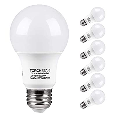 TORCHSTAR A19 LED Light Bulb, 9W (60W Equivalent), 820lm, 120V, E26 Standard Base, UL Listed 5000K Daylight for Desk Lamp, Floor Lamp, Ceiling Fan, 3 Years Warranty, Pack of 6