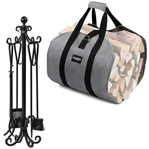 Amagabeli 5 Pieces Scroll Fireplace Tools Bundle Firewood Carrier Tote Waxed Canvas Log Tote