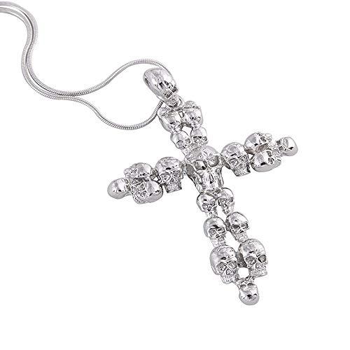 EVBEA(エバベア) スカル 十字架 ネックレス レディース メンズ チョーカー 女性 ゴシック ロック パンク ジュエリー 男女兼用(ホワイト)